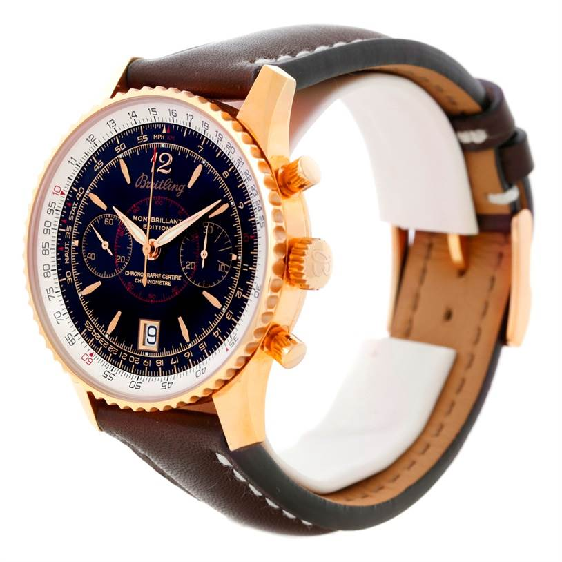 Breitling Navitimer Montbrillant 18K Rose Gold Watch H48330 Limited SwissWatchExpo