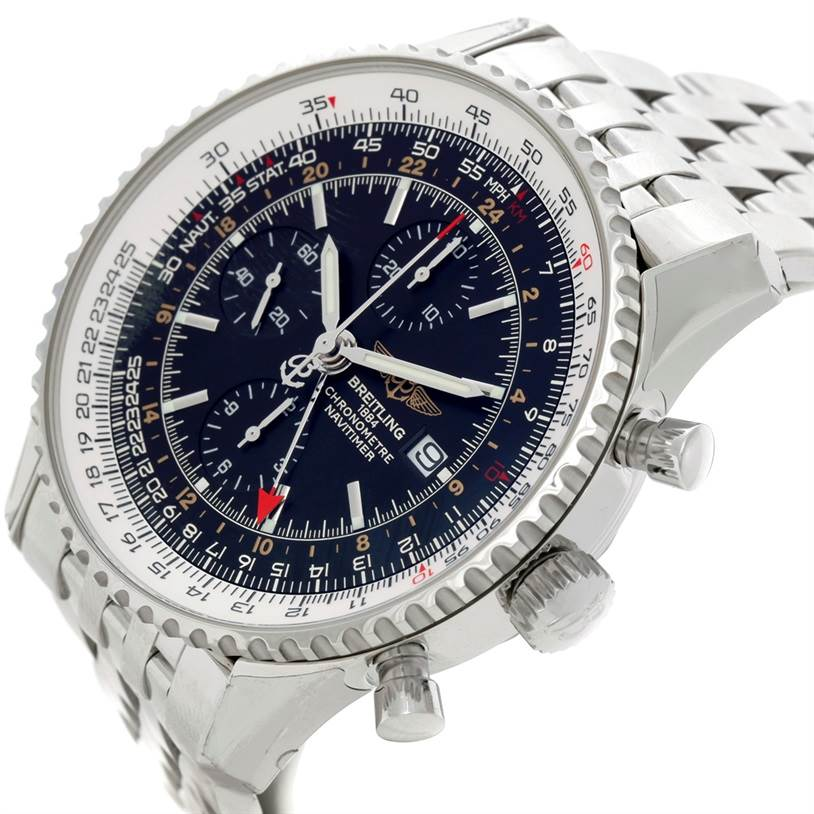8678 Breitling Navitimer World Chronograph Steel Watch A24322 SwissWatchExpo