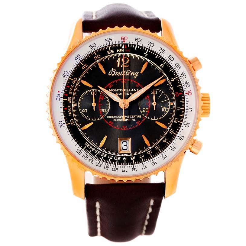 8689P Breitling Navitimer Montbrillant Limited Rose Gold Watch H48330 SwissWatchExpo