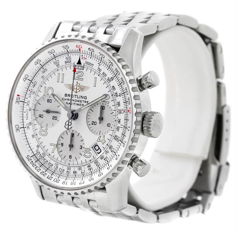 8750 Breitling Navitimer Chronograph Silver Dial Steel Watch A23322 SwissWatchExpo