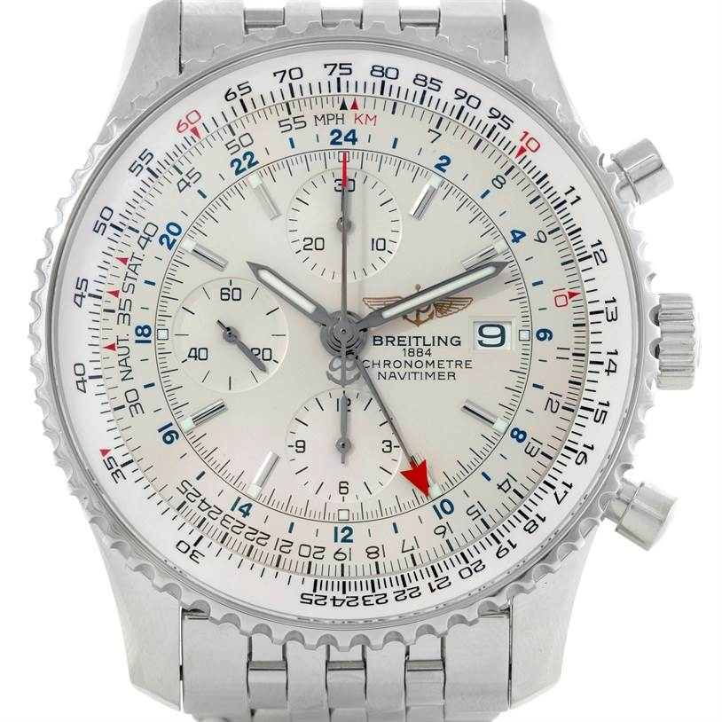 9006 Breitling Navitimer World Chronograph Silver Dial Steel Watch A24322 SwissWatchExpo