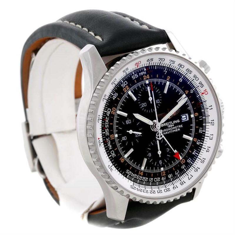Breitling Navitimer World Chronograph Black Dial Steel Watch A24322 SwissWatchExpo