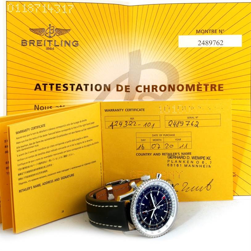 9363 Breitling Navitimer World Chronograph Black Dial Steel Watch A24322 SwissWatchExpo