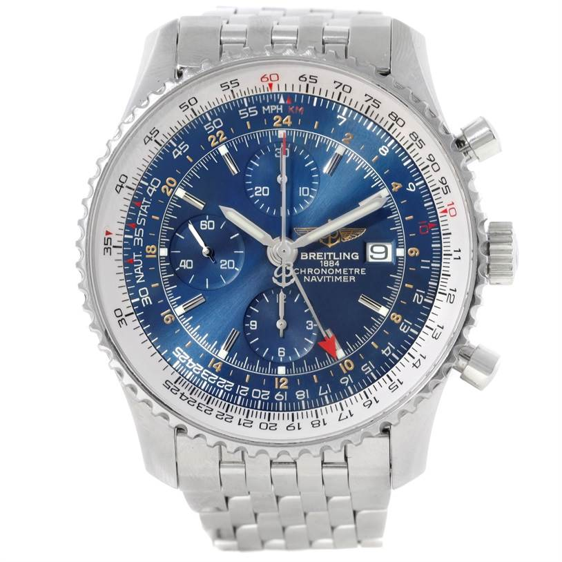9430 Breitling Navitimer World Chronograph Blue Dial Steel Watch A24322 SwissWatchExpo
