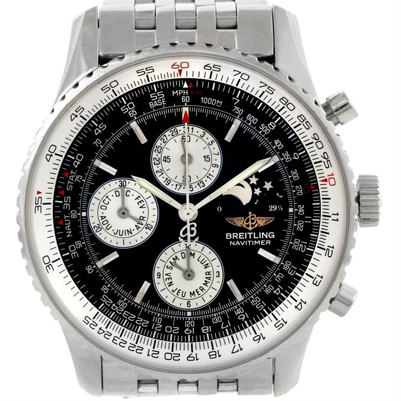 9431 Breitling Navitimer Montbrillant Olympus Moonphase Mens Watch A19340 SwissWatchExpo