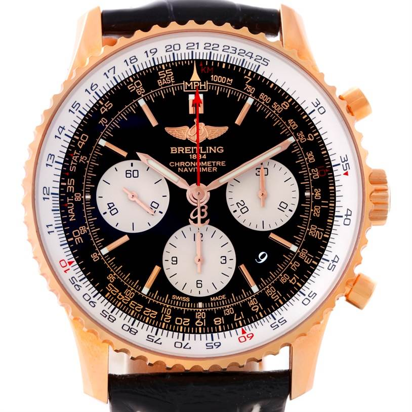 8789 Breitling Navitimer 01 18K Rose Gold Watch RB0120 SwissWatchExpo