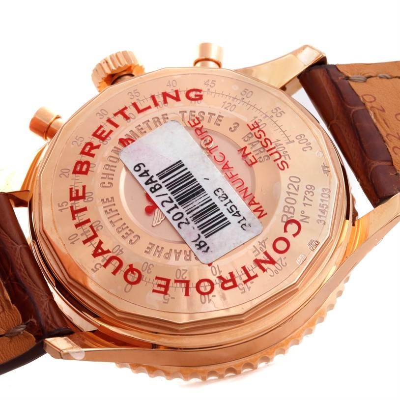9716P Breitling Navitimer 01 18K Rose Gold Black Dial Watch RB0120 Unworn SwissWatchExpo