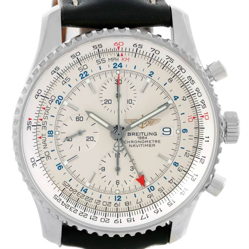 10011 Breitling Navitimer World Chronograph Black Strap Steel Watch A24322 SwissWatchExpo