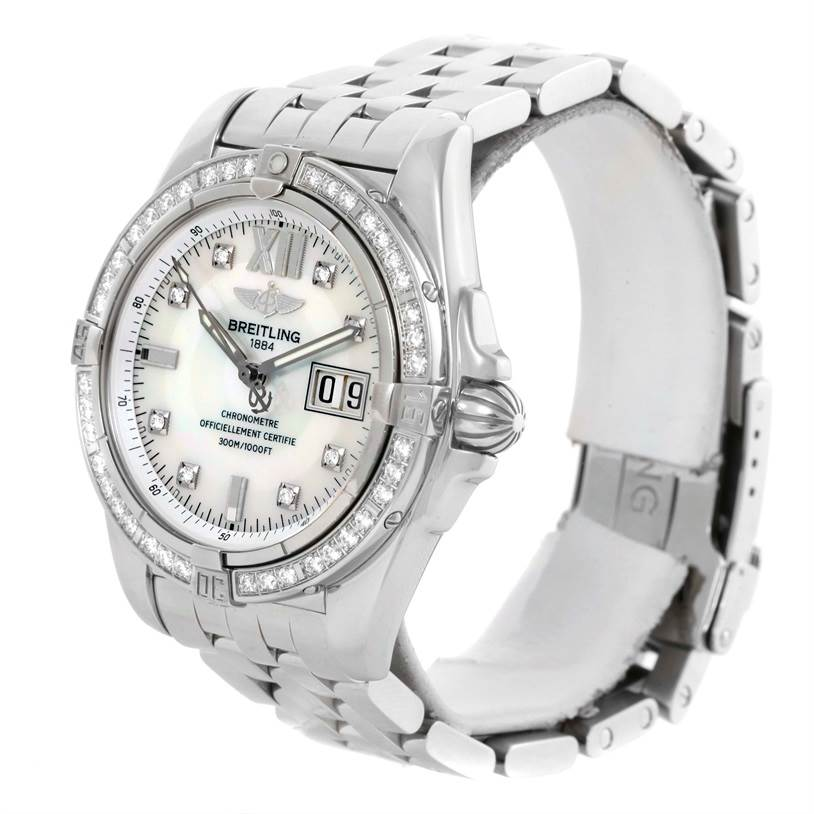 10390 Breitling Windrider Cockpit Steel Mother of Pearl Diamond Watch A49350 SwissWatchExpo