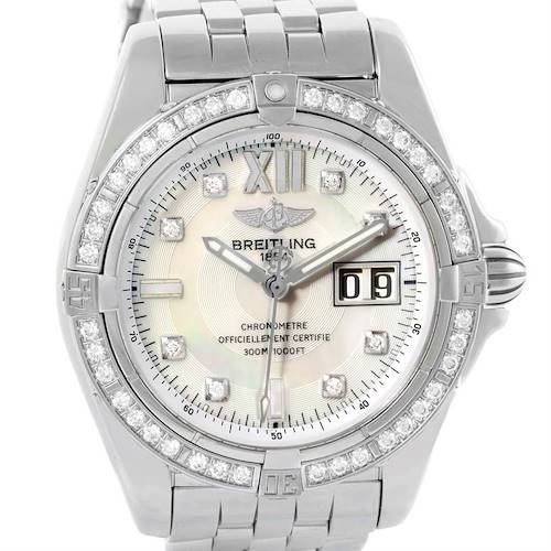 Photo of Breitling Windrider Cockpit Steel Mother of Pearl Diamond Watch A49350