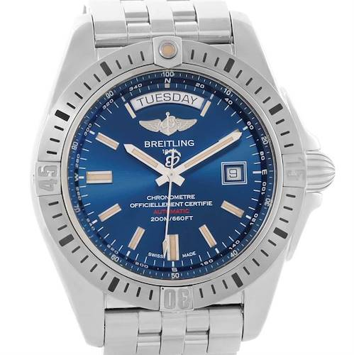 Photo of Breitling Galactic 44 Day-Date Steel Blue Dial Watch A45320 Unworn