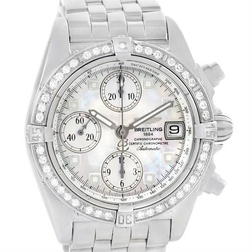 Photo of Breitling Windrider Cockpit Mother of Pearl Diamond Watch A13357