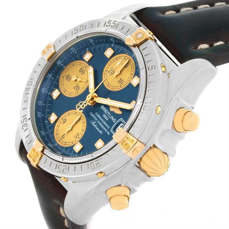 Breitling Windrider Cockpit Steel Yellow Gold Blue Dial Watch B13357 SwissWatchExpo