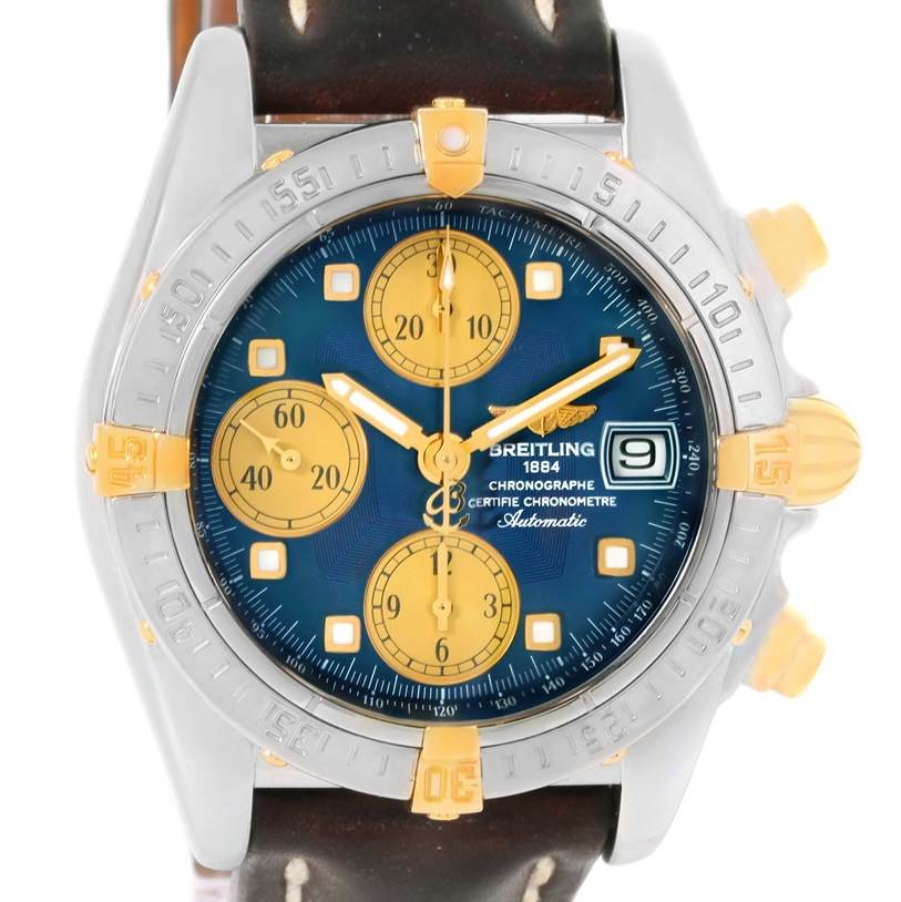 12802 Breitling Windrider Cockpit Steel Yellow Gold Blue Dial Watch B13357 SwissWatchExpo