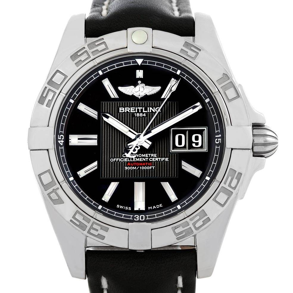 19389 Breitling Windrider Cockpit Black Dial Mens Watch A49350 Box Papers SwissWatchExpo