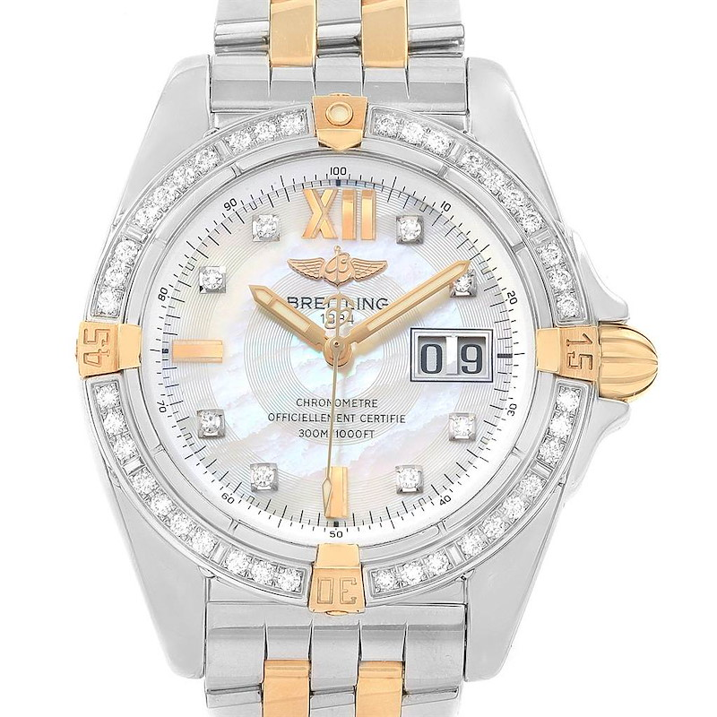 Breitling Cockpit Mother of Pearl Dial Diamond Mens Watch B49350 SwissWatchExpo