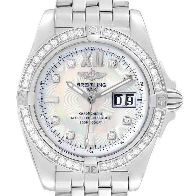 Breitling Windrider Cockpit 41 Steel Mother of Pearl Diamond Watch A49350 SwissWatchExpo