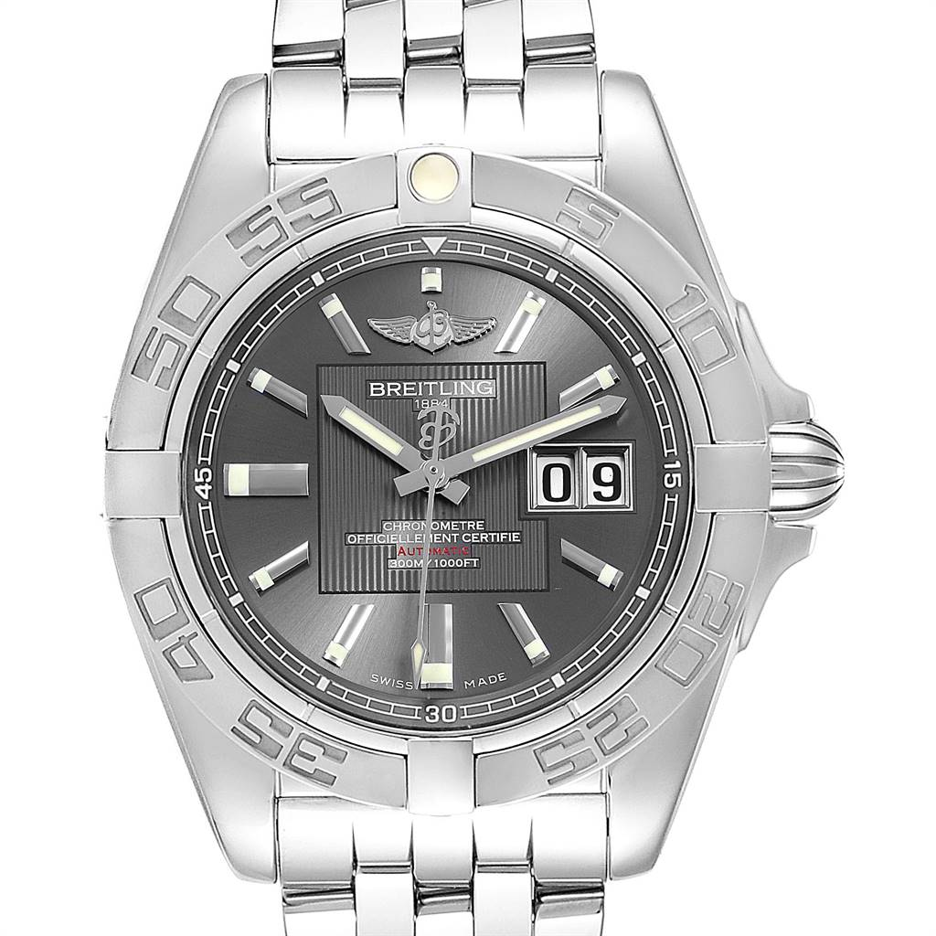 Breitling Windrider Cockpit Grey Dial Steel Mens Watch A49350