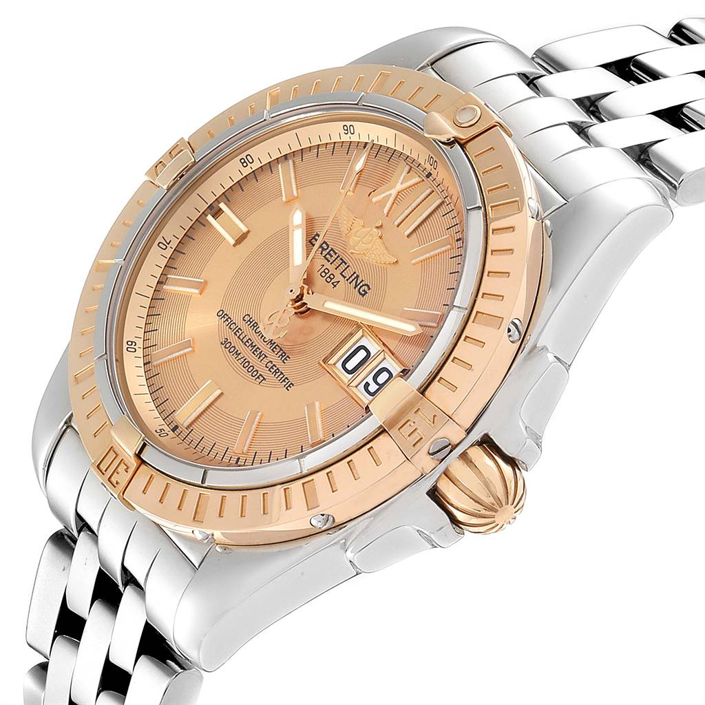 Breitling Windrider Cockpit Rose Gold Steel Mens Watch A49350 Box Papers SwissWatchExpo