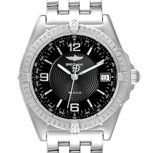 Photo of Breitling Windrider Wings Black Dial Steel Mens Watch A10050