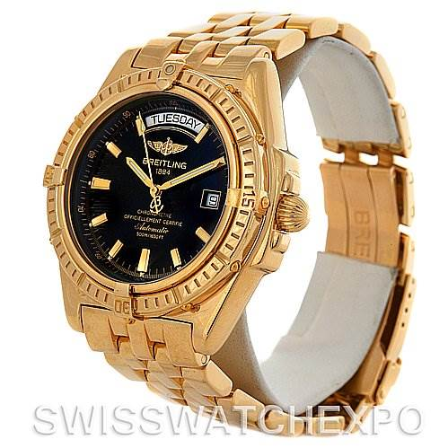 4084 Breitling Headwind 18K Yellow Gold Black Dial Men's Watch Limited Edition SwissWatchExpo