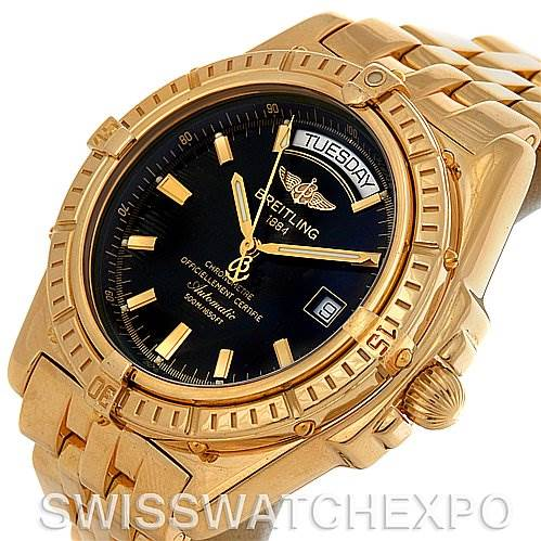 Breitling Headwind 18K Yellow Gold Black Dial Men's Watch Limited Edition SwissWatchExpo