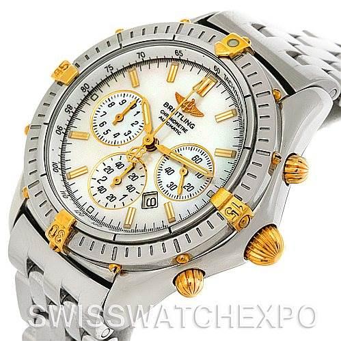 Breitling Windrider Shadow Flyback Steel 18K Yellow Gold B35312 Watch SwissWatchExpo