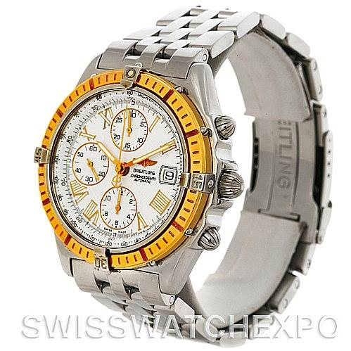 4371 Breitling Windrider Chronomat Steel and 18K Yellow Gold Watch D13055 SwissWatchExpo