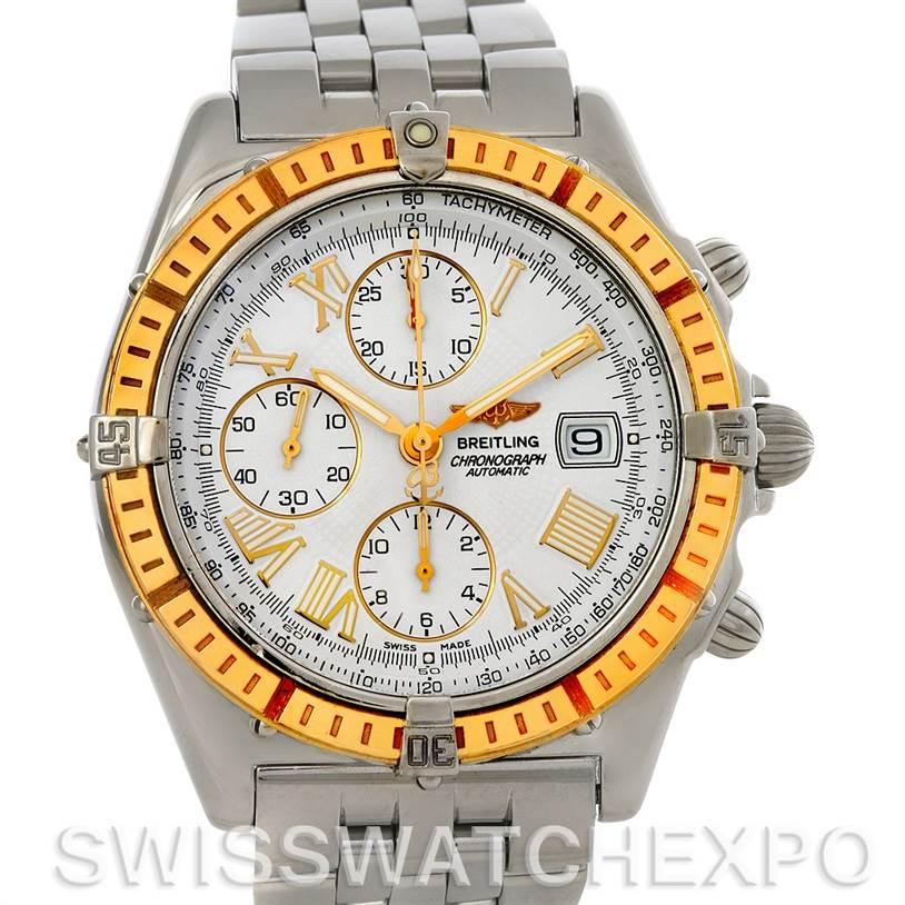 Breitling Windrider Chronomat Steel and 18K Yellow Gold Watch D13055 SwissWatchExpo