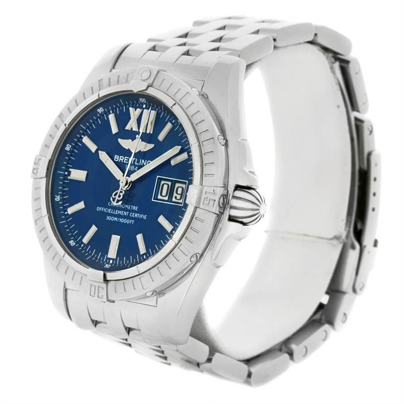 4501 Breitling Windrider Cockpit 41 Blue Dial Mens Steel Watch A49350 SwissWatchExpo