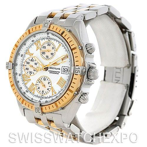 5218 Breitling Windrider Crosswind Steel and Gold Watch D13355 SwissWatchExpo