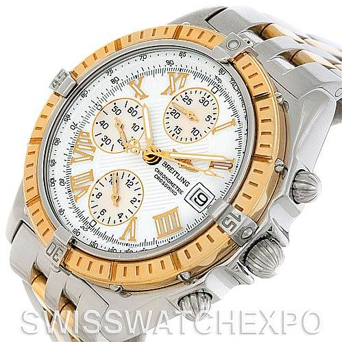 Breitling Windrider Crosswind Steel and Gold Watch D13355 SwissWatchExpo