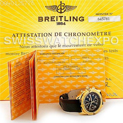 Breitling Windrider Chronomat 18K Yellow Gold Watch K13352 SwissWatchExpo