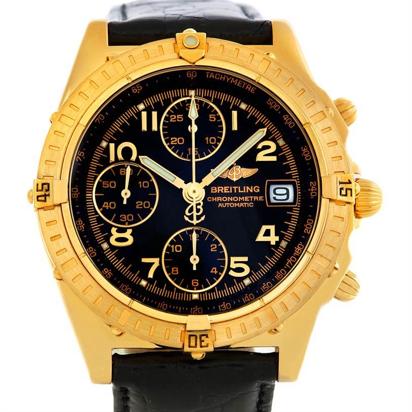5567 Breitling Windrider Chronomat 18K Yellow Gold Watch K13352 SwissWatchExpo