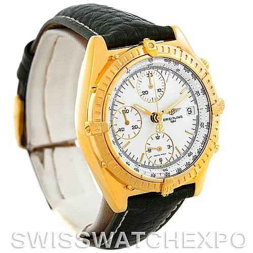 5913 Breitling Windrider Chronomat 18K Yellow Gold Watch K13048 SwissWatchExpo