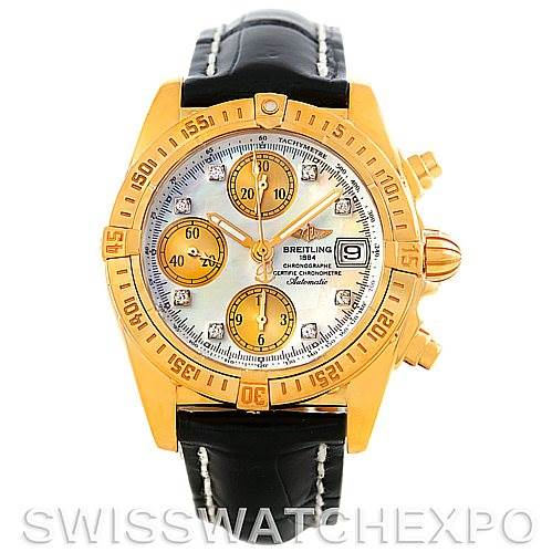 5952 Breitling Windrider Cockpit MOP Diamond Watch K13358 SwissWatchExpo