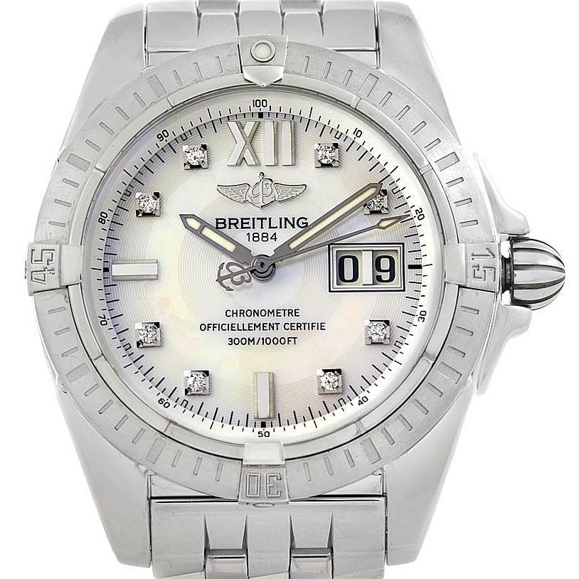 Breitling Windrider Cockpit Mens Steel Diamond Watch A49350 SwissWatchExpo