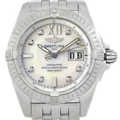 Photo of Breitling Windrider Cockpit Mens Steel Diamond Watch A49350