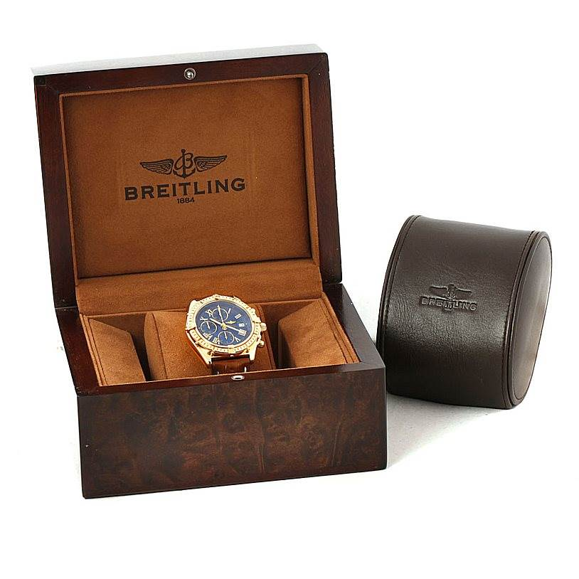 7821 Breitling Windrider Crosswind 18K Yellow Gold Watch K13055 SwissWatchExpo