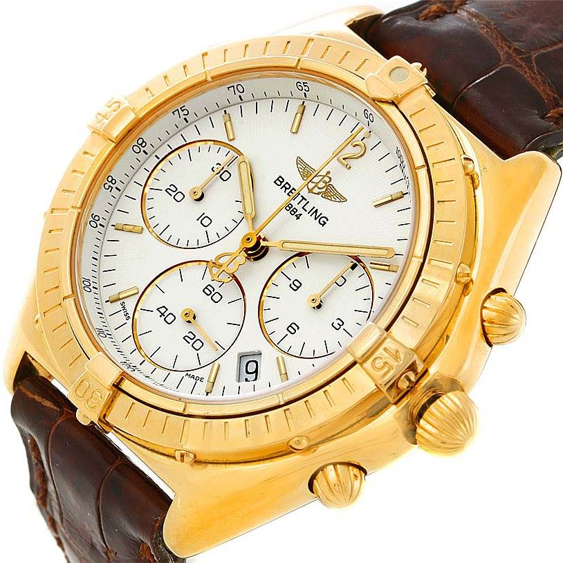 7796 Breitling Windrider Sextant 18K Yellow Gold Watch K55046 SwissWatchExpo
