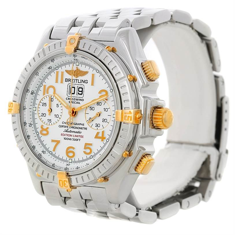 Breitling Windrider Crosswind Special Steel Yellow Gold Watch B13355 SwissWatchExpo