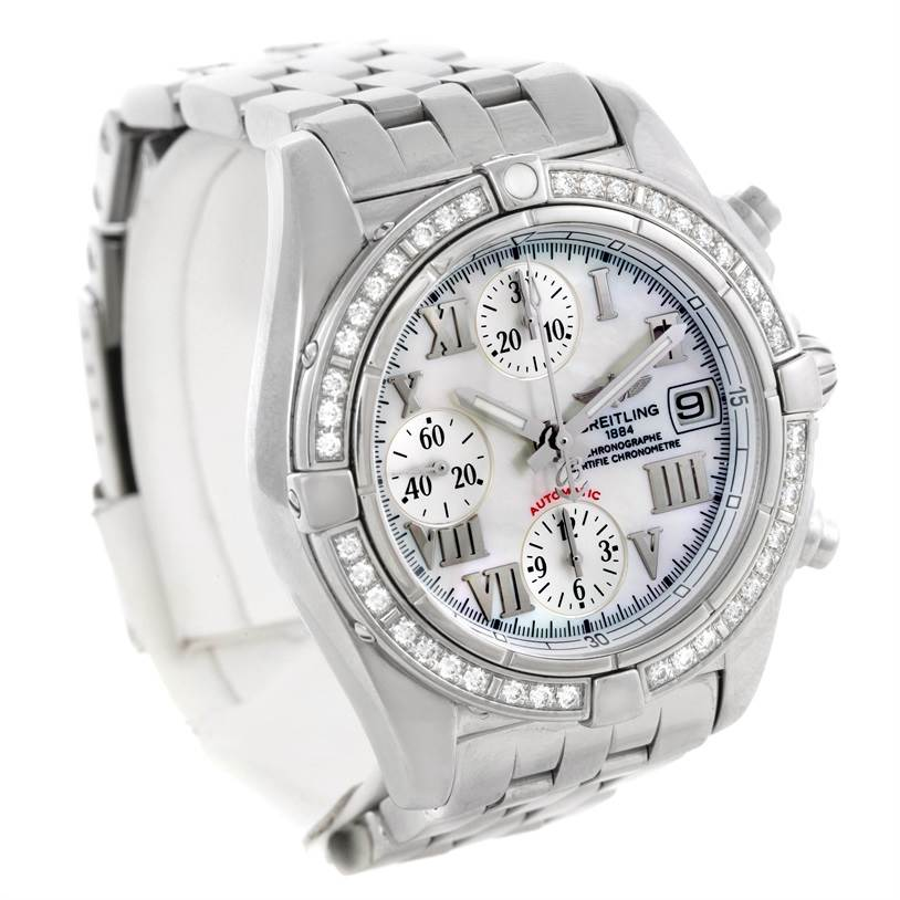 Breitling Windrider Cockpit MOP Diamond Automatic Watch A13358 SwissWatchExpo