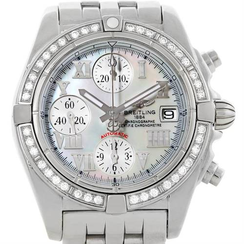 Photo of Breitling Windrider Cockpit MOP Diamond Automatic Watch A13358