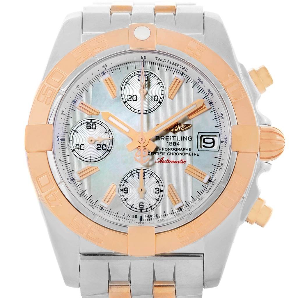9180 Breitling Chrono Galactic Stainless Steel Rose Gold Watch C13358 SwissWatchExpo