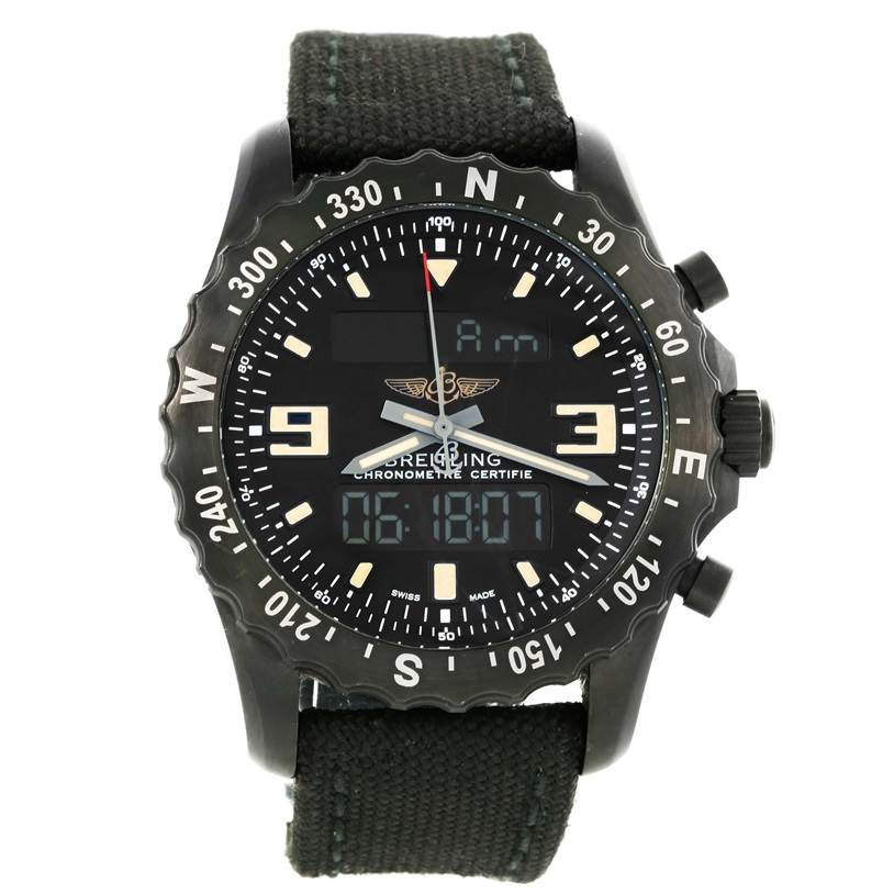 12462 Breitling Chronospace Military GMT Alarm Blacksteel Watch M78366 SwissWatchExpo