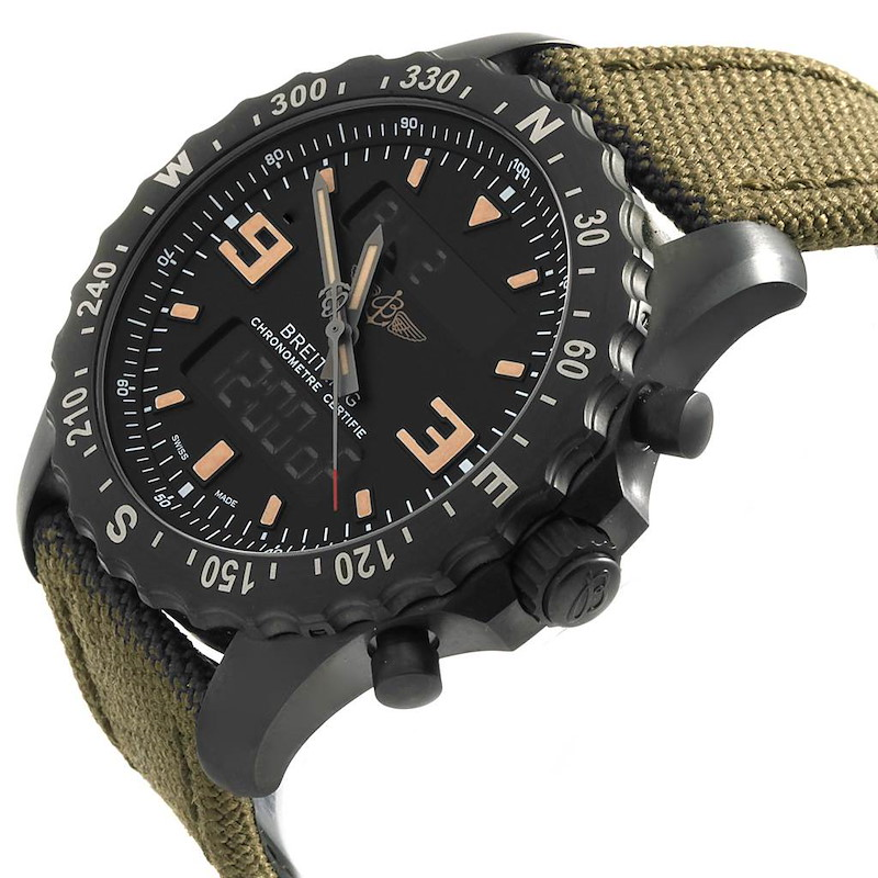 Breitling Chronospace Military GMT Alarm Blacksteel Watch M78366 Unworn SwissWatchExpo