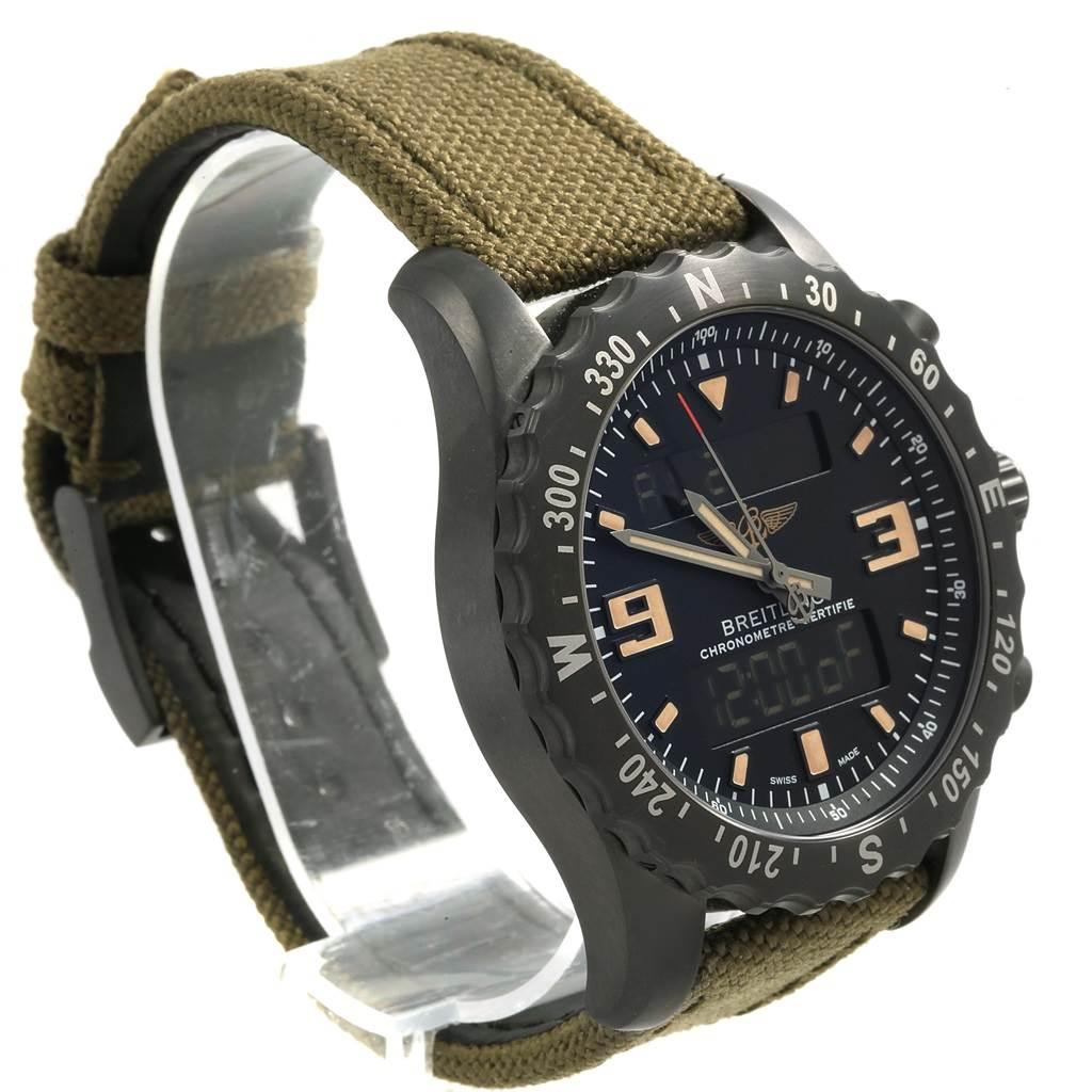 18502 Breitling Chronospace Military GMT Alarm Blacksteel Watch M78366 Unworn SwissWatchExpo