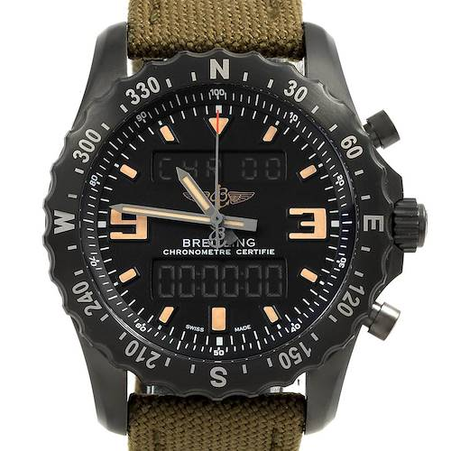 Photo of Breitling Chronospace Military GMT Alarm Blacksteel Watch M78366 Unworn
