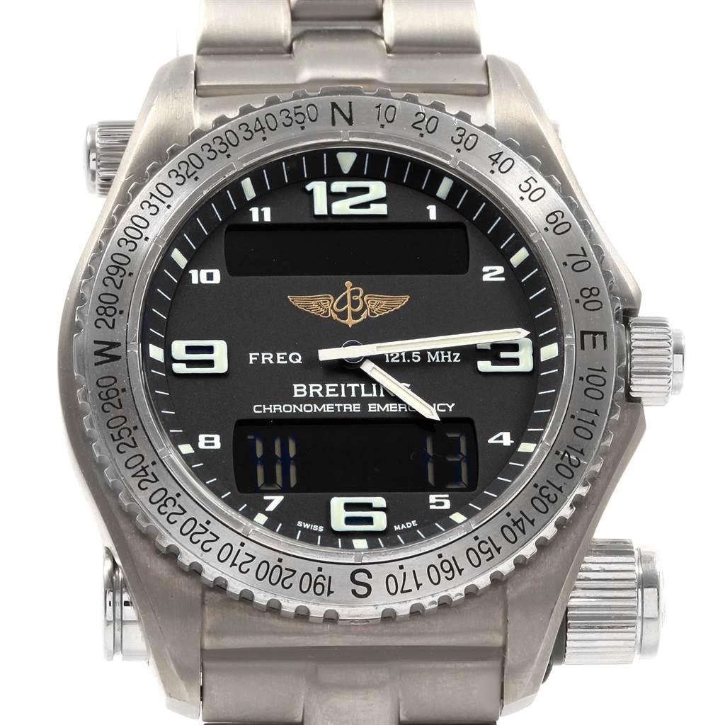 19999 Breitling Emergency Superquartz LCD Titanium Watch E76321 Box Papers SwissWatchExpo
