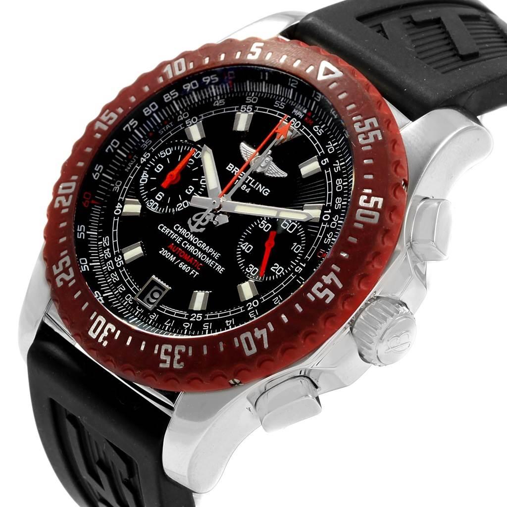Breitling Skyracer Raven Red Rubber Bezel Steel Mens Watch A27363 SwissWatchExpo